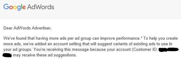 Google Adwords Notification